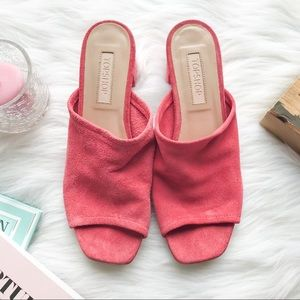TOPSHOP Nino Mules Sandals Suede Pink 38/US7.5
